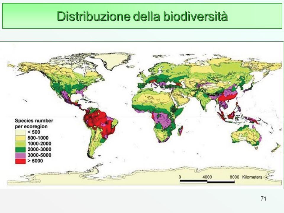 71 Distribuzione della biodiversità