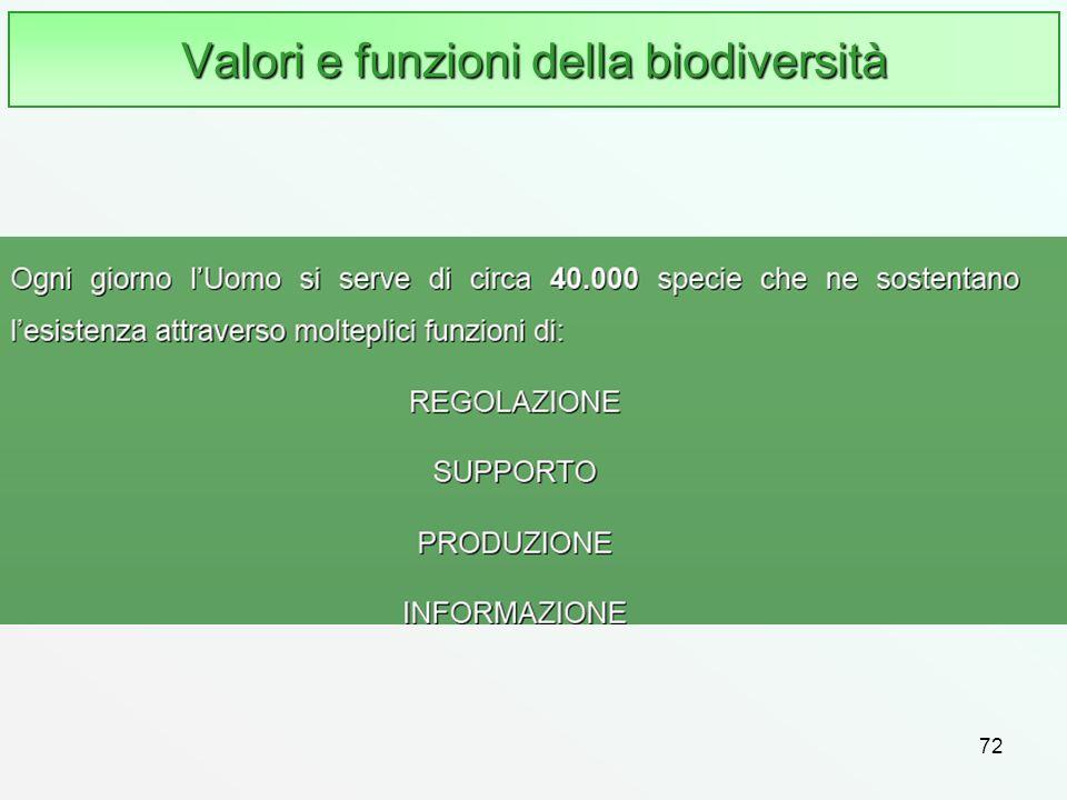 72 Valori e funzioni della biodiversità