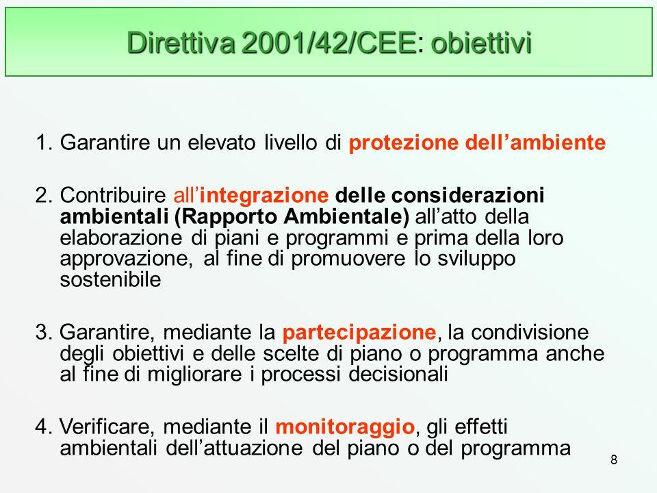 8 Direttiva 2001/42/CEEobiettivi Direttiva 2001/42/CEE: obiettivi 1.Garantire un elevato livello di protezione dellambiente 2.Contribuire allintegrazi