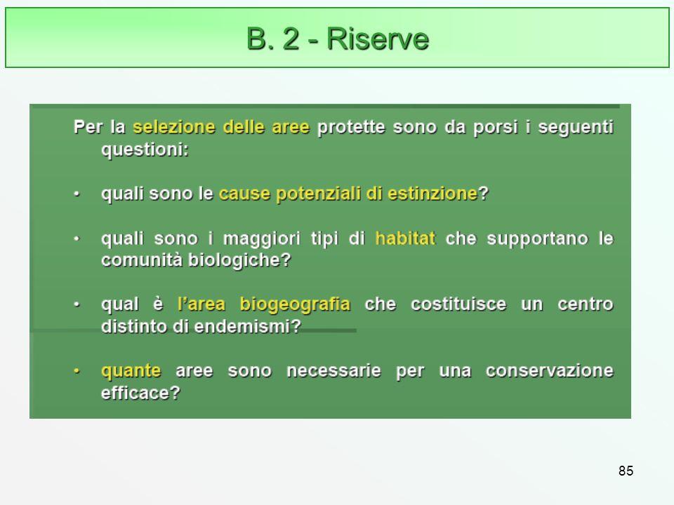 85 B. 2 - Riserve