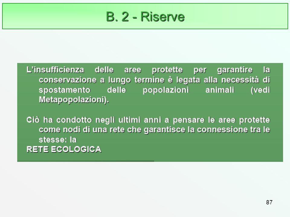 87 B. 2 - Riserve