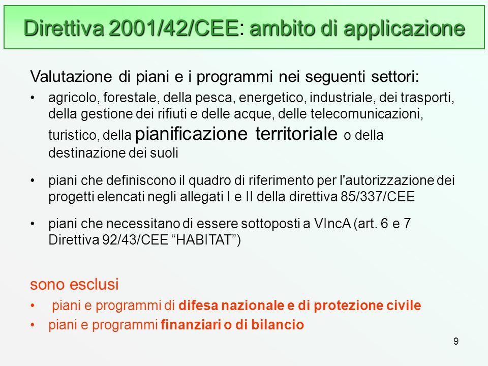 9 Direttiva 2001/42/CEE ambito di applicazione Direttiva 2001/42/CEE: ambito di applicazione sono esclusi piani e programmi di difesa nazionale e di p