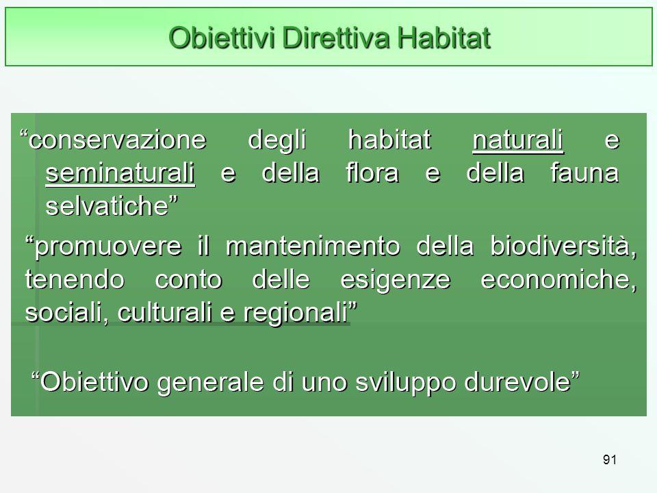 91 Obiettivi Direttiva Habitat