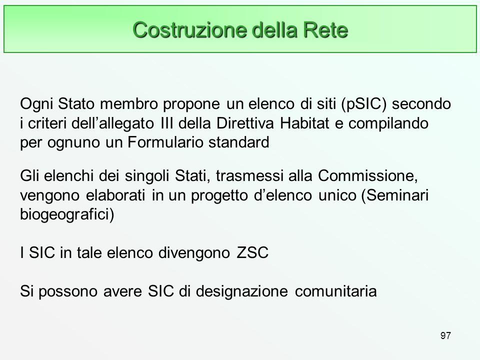 97 Costruzione della Rete Ogni Stato membro propone un elenco di siti (pSIC) secondo i criteri dellallegato III della Direttiva Habitat e compilando p