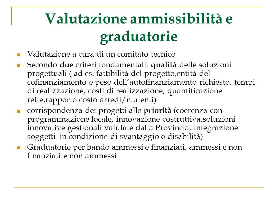 Valutazione ammissibilità e graduatorie Valutazione a cura di un comitato tecnico Secondo due criteri fondamentali: qualità delle soluzioni progettuali ( ad es.
