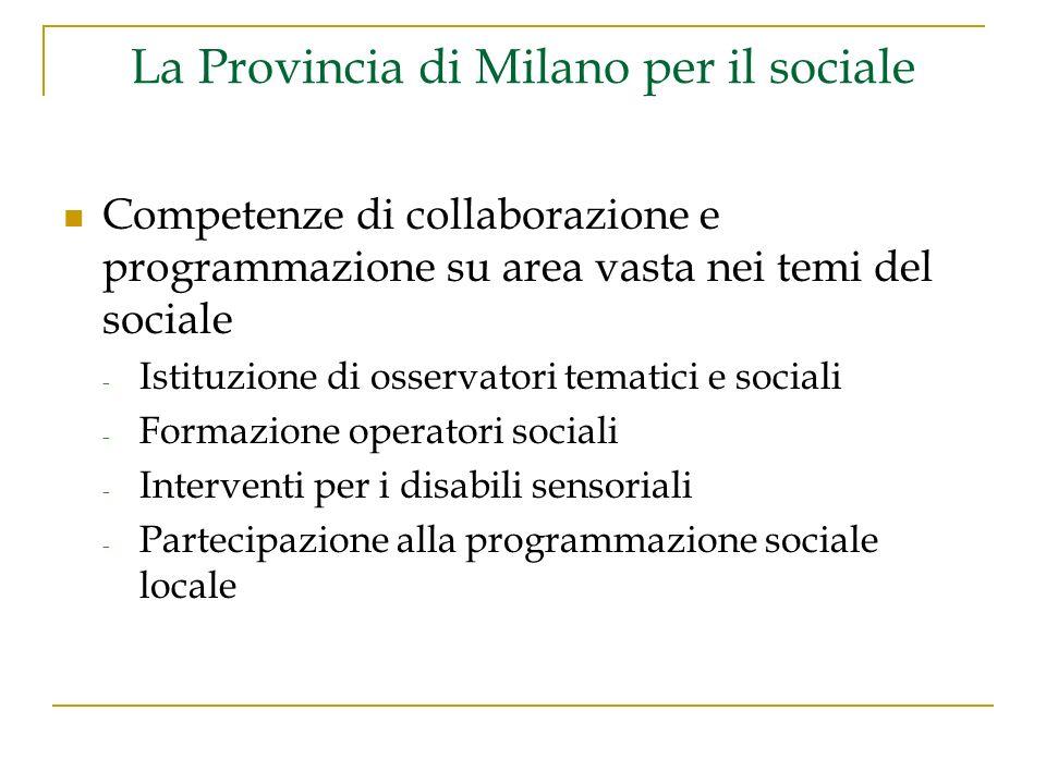 La Provincia di Milano per il sociale Competenze di collaborazione e programmazione su area vasta nei temi del sociale - Istituzione di osservatori tematici e sociali - Formazione operatori sociali - Interventi per i disabili sensoriali - Partecipazione alla programmazione sociale locale