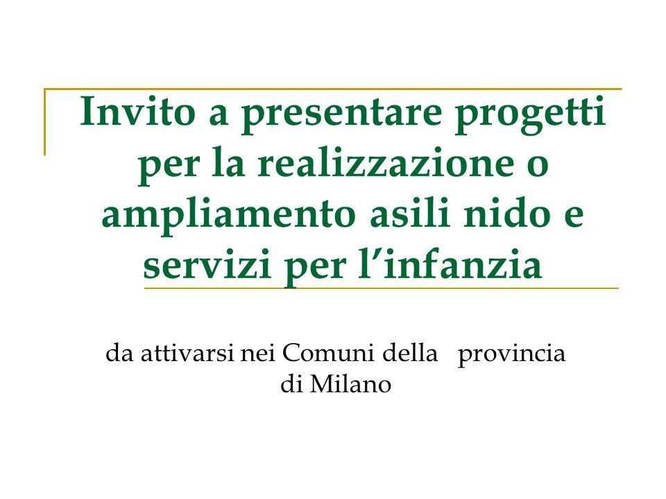 Invito a presentare progetti per la realizzazione o ampliamento asili nido e servizi per linfanzia da attivarsi nei Comuni della provincia di Milano