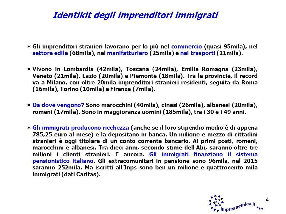 5 Ovvero lintegrazione sociale degli immigrati attraverso il lavoro autonomo e il rischio imprenditoriale.
