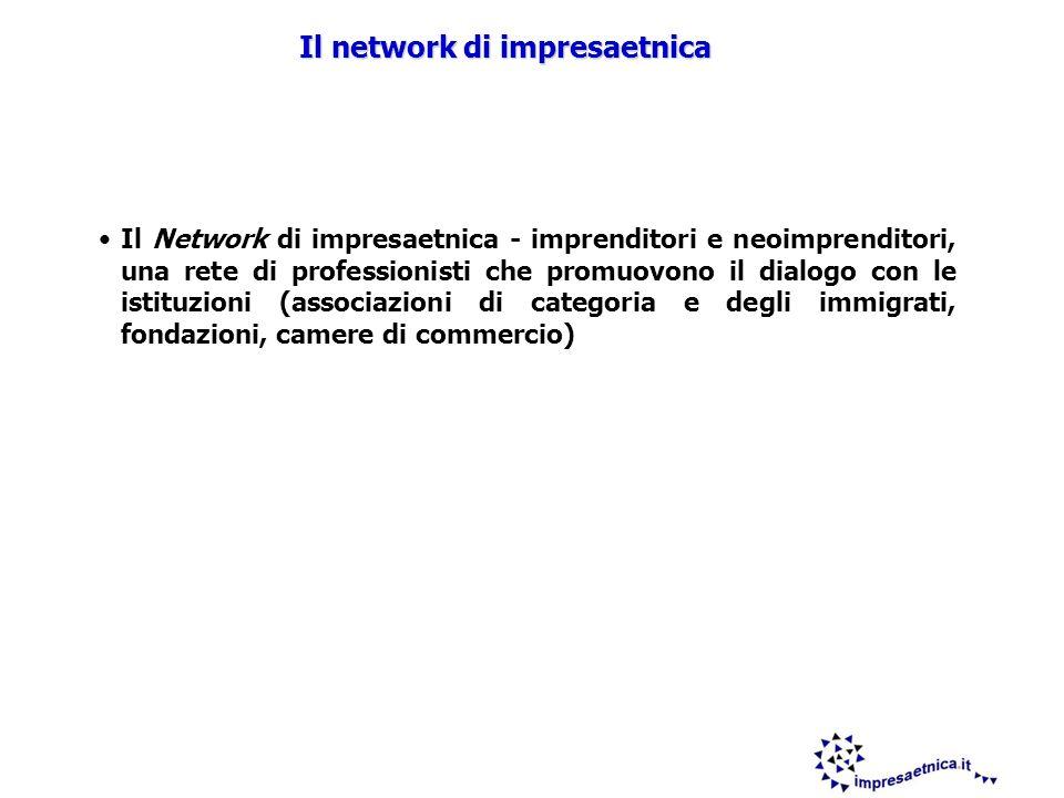 8 Il Network di impresaetnica - imprenditori e neoimprenditori, una rete di professionisti che promuovono il dialogo con le istituzioni (associazioni di categoria e degli immigrati, fondazioni, camere di commercio) Il network di impresaetnica