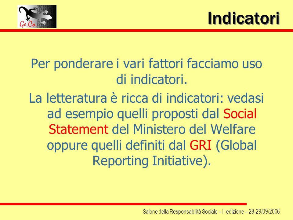Salone della Responsabilità Sociale – II edizione – 28-29/09/2006 Indicatori Per ponderare i vari fattori facciamo uso di indicatori. La letteratura è