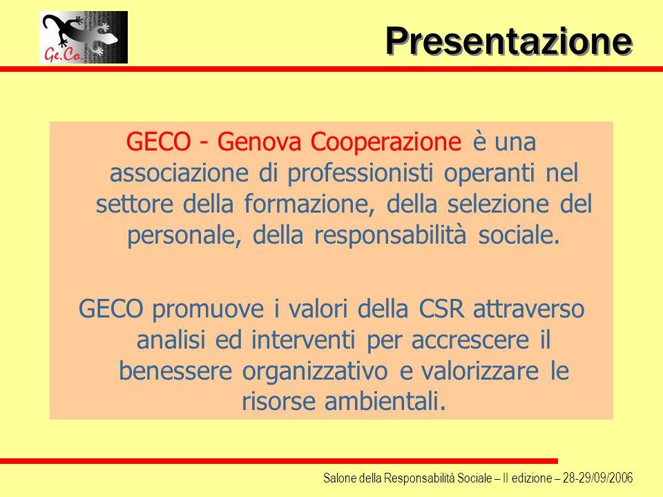 Presentazione GECO - Genova Cooperazione è una associazione di professionisti operanti nel settore della formazione, della selezione del personale, de