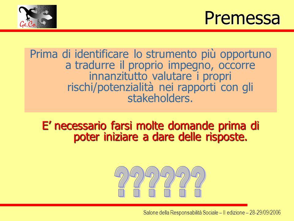 Salone della Responsabilità Sociale – II edizione – 28-29/09/2006 Prima di identificare lo strumento più opportuno a tradurre il proprio impegno, occo