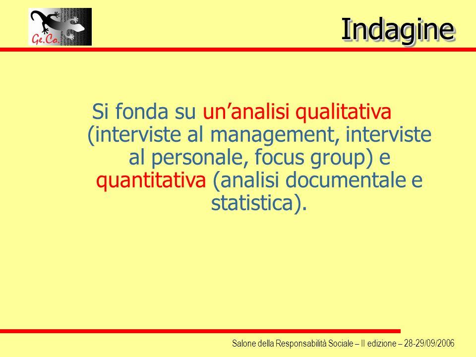 Salone della Responsabilità Sociale – II edizione – 28-29/09/2006 Si fonda su unanalisi qualitativa (interviste al management, interviste al personale