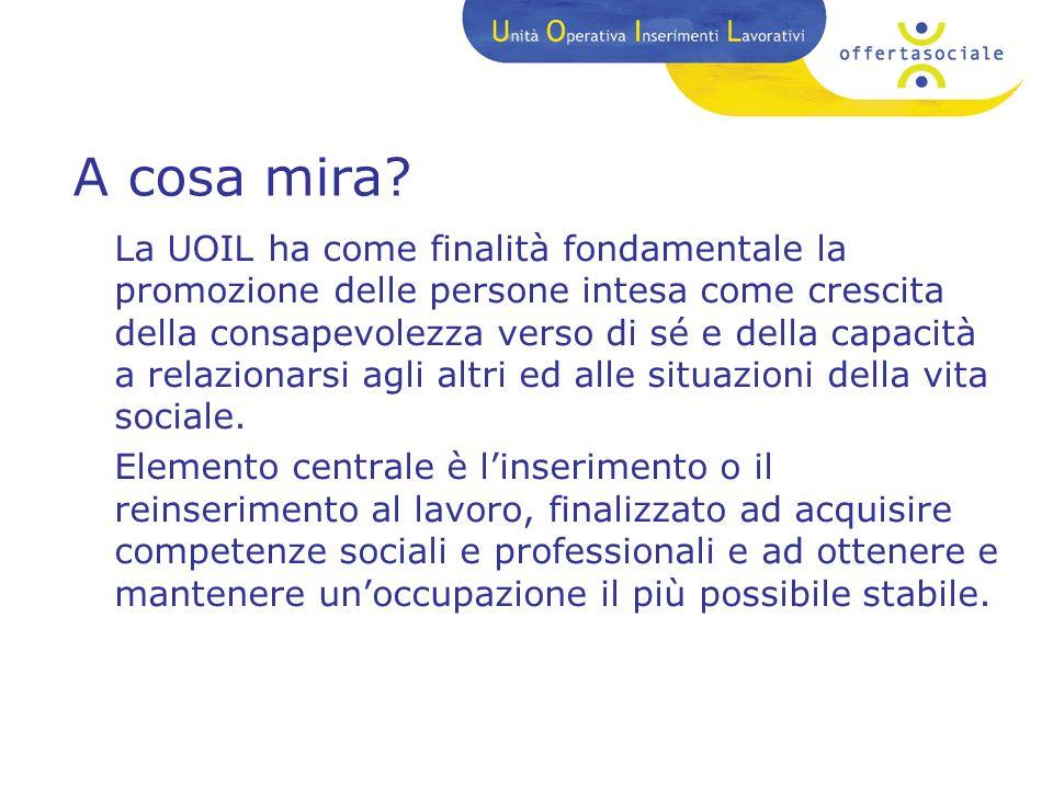 Cosè la UOIL? LUnità Operativa Inserimenti Lavorativi è un servizio gestito dalla Azienda Speciale consortile Offertasociale. La UOIL è un servizio ri