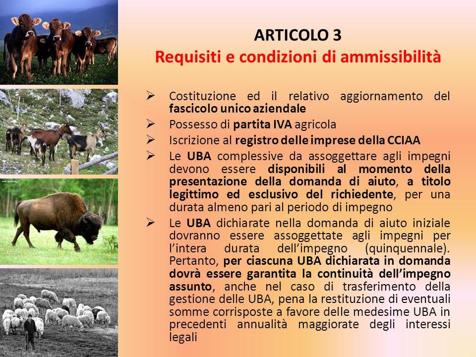 Costituzione ed il relativo aggiornamento del fascicolo unico aziendale Possesso di partita IVA agricola Iscrizione al registro delle imprese della CC