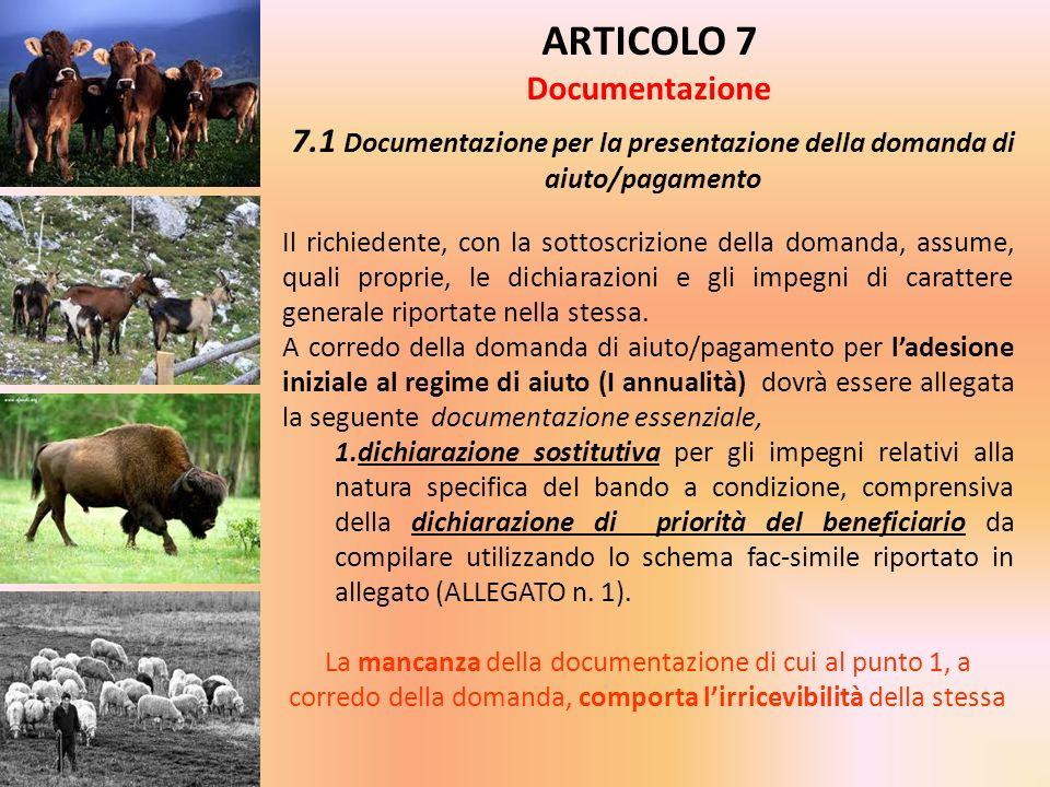 ARTICOLO 7 Documentazione 7.1 Documentazione per la presentazione della domanda di aiuto/pagamento Il richiedente, con la sottoscrizione della domanda