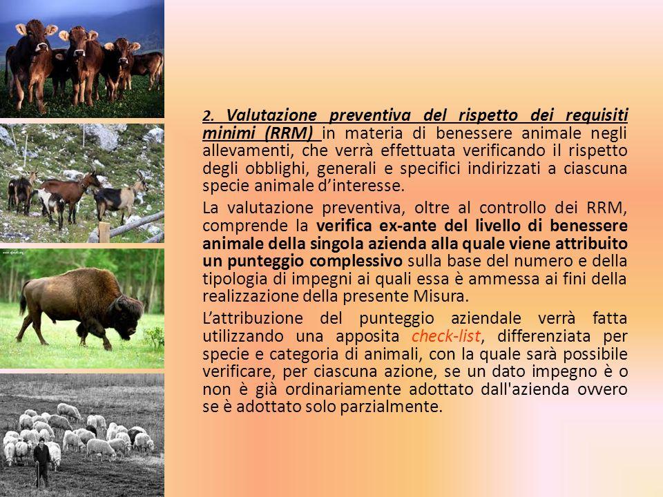 2. Valutazione preventiva del rispetto dei requisiti minimi (RRM) in materia di benessere animale negli allevamenti, che verrà effettuata verificando