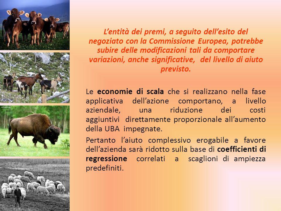 Lentità dei premi, a seguito dellesito del negoziato con la Commissione Europea, potrebbe subire delle modificazioni tali da comportare variazioni, an