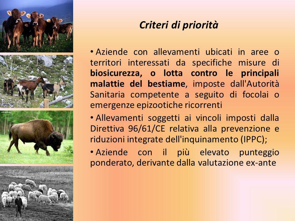 Criteri di priorità Aziende con allevamenti ubicati in aree o territori interessati da specifiche misure di biosicurezza, o lotta contro le principali