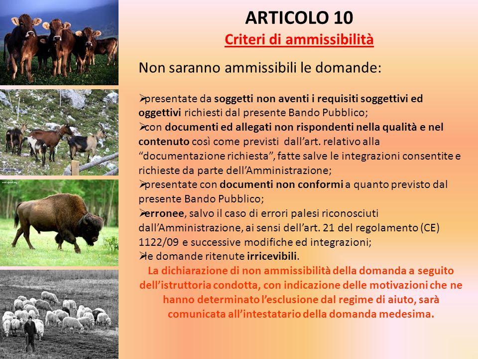 ARTICOLO 10 Criteri di ammissibilità Non saranno ammissibili le domande: presentate da soggetti non aventi i requisiti soggettivi ed oggettivi richies
