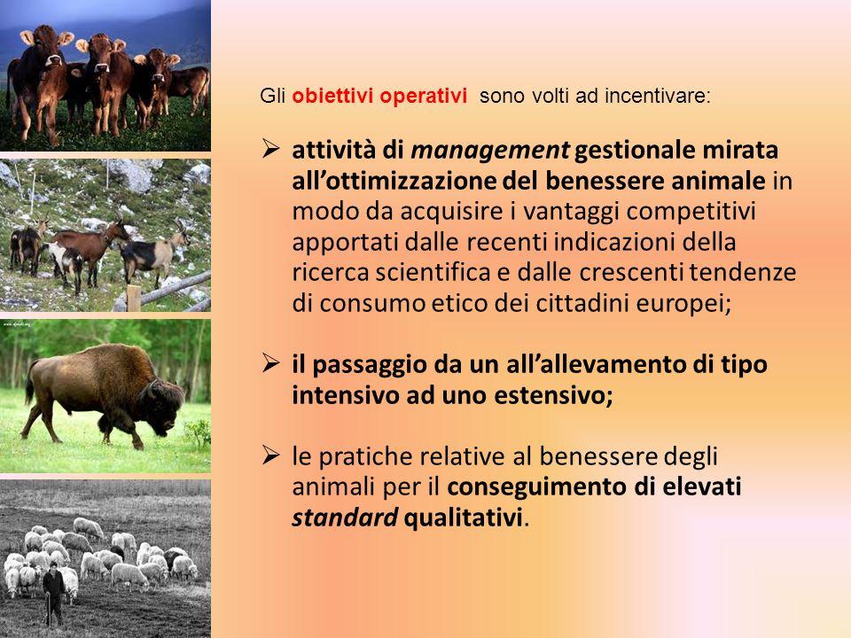 Gli obiettivi operativi sono volti ad incentivare: attività di management gestionale mirata allottimizzazione del benessere animale in modo da acquisi