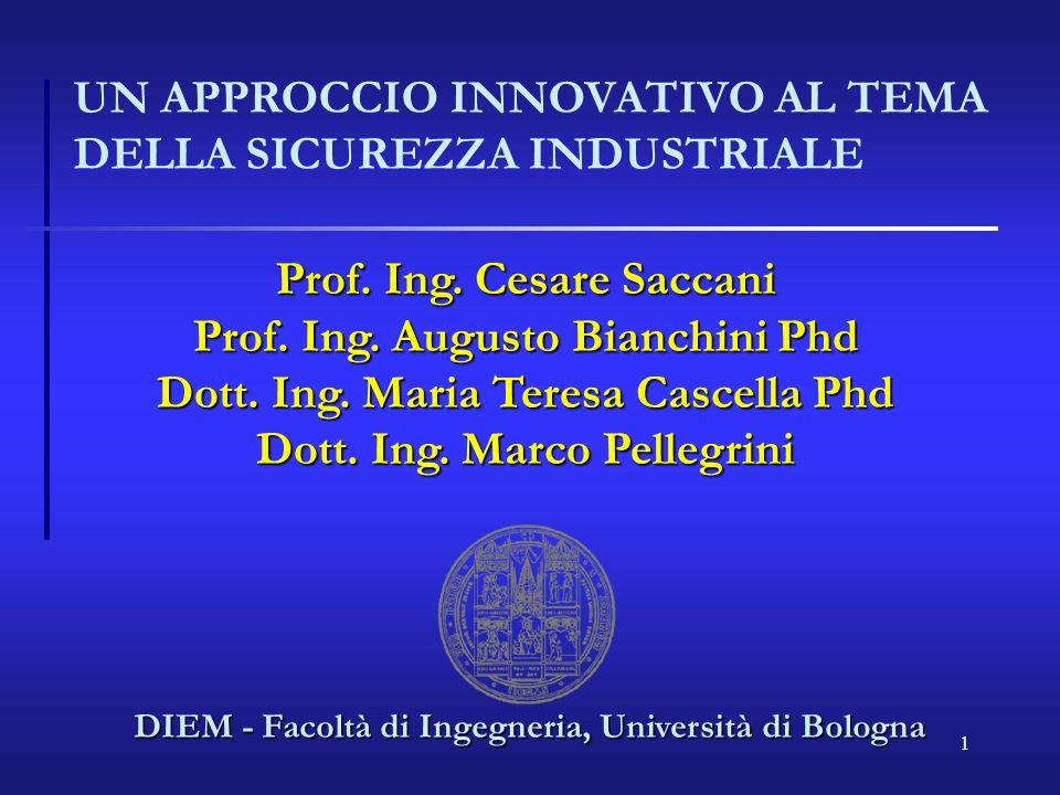 1 UN APPROCCIO INNOVATIVO AL TEMA DELLA SICUREZZA INDUSTRIALE DIEM - Facoltà di Ingegneria, Università di Bologna Prof.