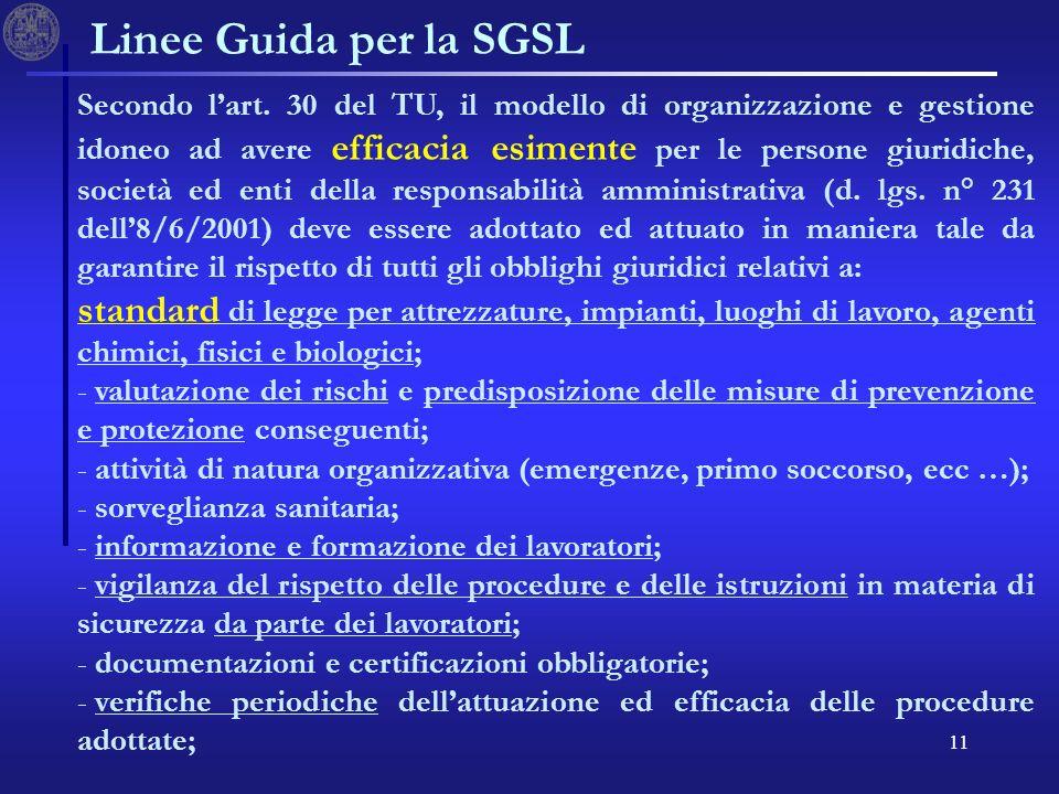 11 Linee Guida per la SGSL Secondo lart. 30 del TU, il modello di organizzazione e gestione idoneo ad avere efficacia esimente per le persone giuridic
