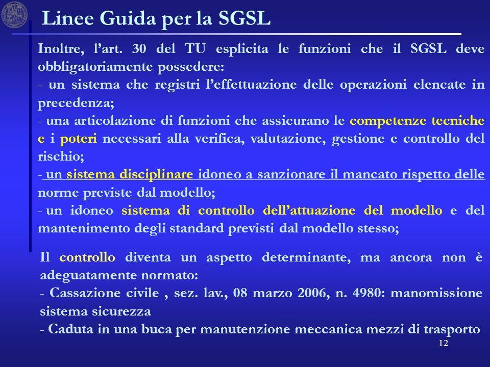 12 Linee Guida per la SGSL Inoltre, lart. 30 del TU esplicita le funzioni che il SGSL deve obbligatoriamente possedere: - un sistema che registri leff