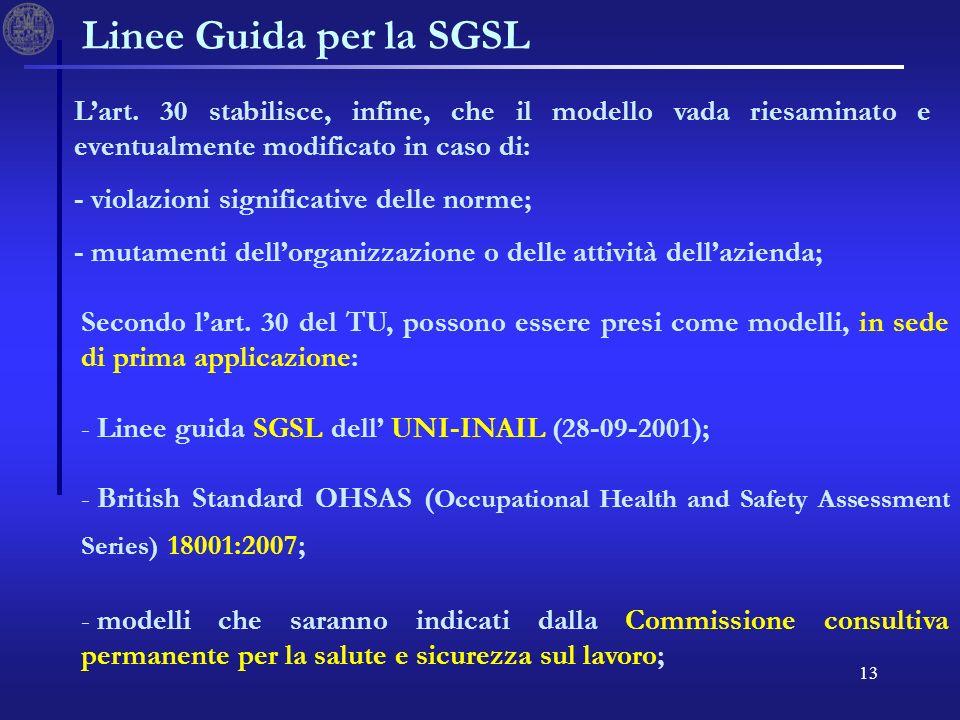 13 Linee Guida per la SGSL Secondo lart.