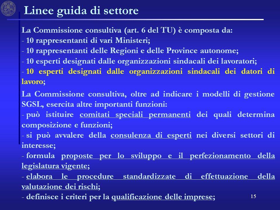 15 Linee guida di settore La Commissione consultiva (art. 6 del TU) è composta da: - - 10 rappresentanti di vari Ministeri; - - 10 rappresentanti dell