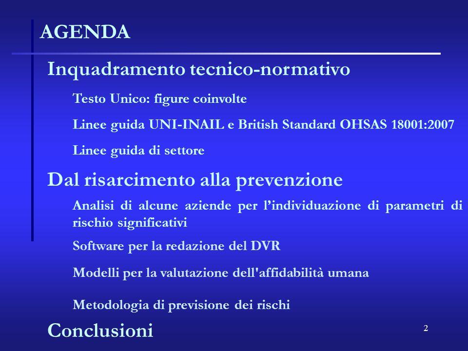 2 AGENDA Inquadramento tecnico-normativo Testo Unico: figure coinvolte Linee guida UNI-INAIL e British Standard OHSAS 18001:2007 Dal risarcimento alla
