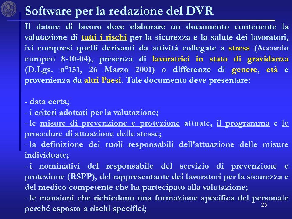 25 Software per la redazione del DVR Il datore di lavoro deve elaborare un documento contenente la valutazione di tutti i rischi per la sicurezza e la salute dei lavoratori, ivi compresi quelli derivanti da attività collegate a stress (Accordo europeo 8-10-04), presenza di lavoratrici in stato di gravidanza (D.Lgs.