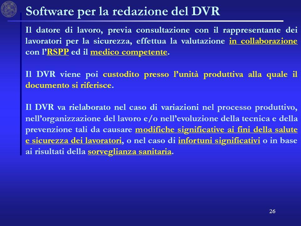 26 Software per la redazione del DVR Il datore di lavoro, previa consultazione con il rappresentante dei lavoratori per la sicurezza, effettua la valutazione in collaborazione con lRSPP ed il medico competente.