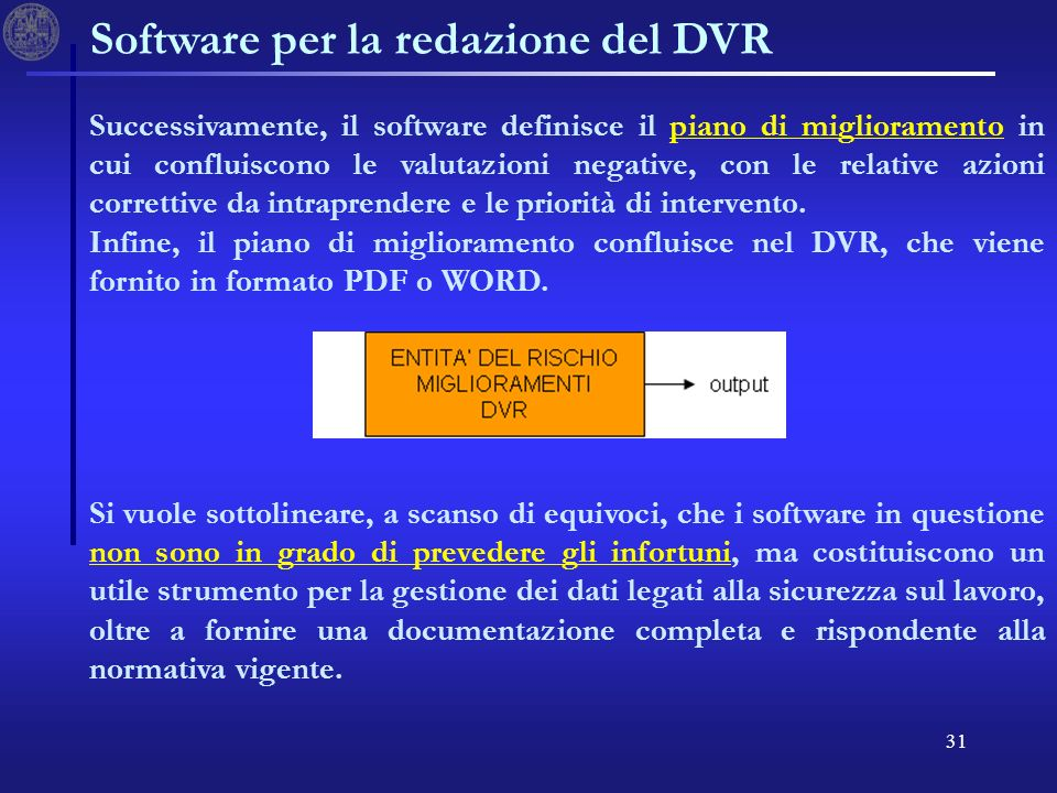 31 Software per la redazione del DVR Successivamente, il software definisce il piano di miglioramento in cui confluiscono le valutazioni negative, con le relative azioni correttive da intraprendere e le priorità di intervento.