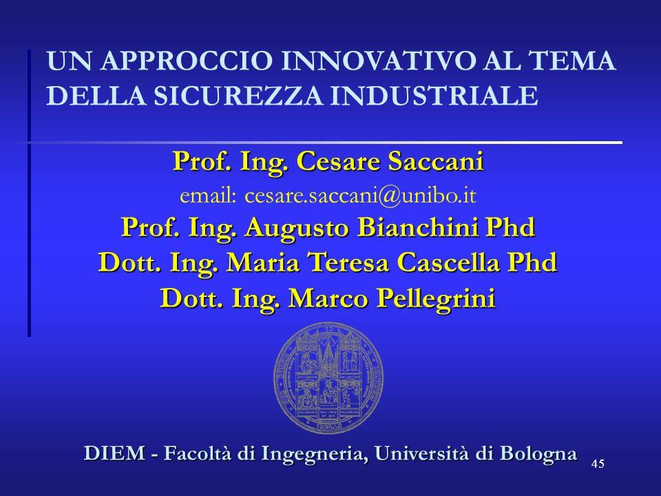 45 UN APPROCCIO INNOVATIVO AL TEMA DELLA SICUREZZA INDUSTRIALE DIEM - Facoltà di Ingegneria, Università di Bologna Prof. Ing. Cesare Saccani email: ce