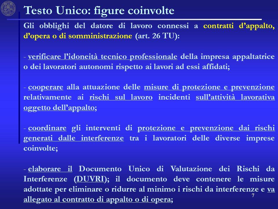7 Testo Unico: figure coinvolte Gli obblighi del datore di lavoro connessi a contratti dappalto, dopera o di somministrazione (art. 26 TU): - - verifi