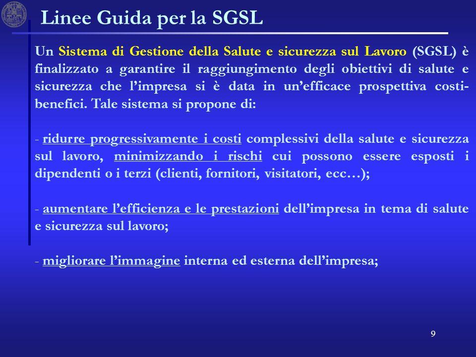 9 Un Sistema di Gestione della Salute e sicurezza sul Lavoro (SGSL) è finalizzato a garantire il raggiungimento degli obiettivi di salute e sicurezza che limpresa si è data in unefficace prospettiva costi- benefici.