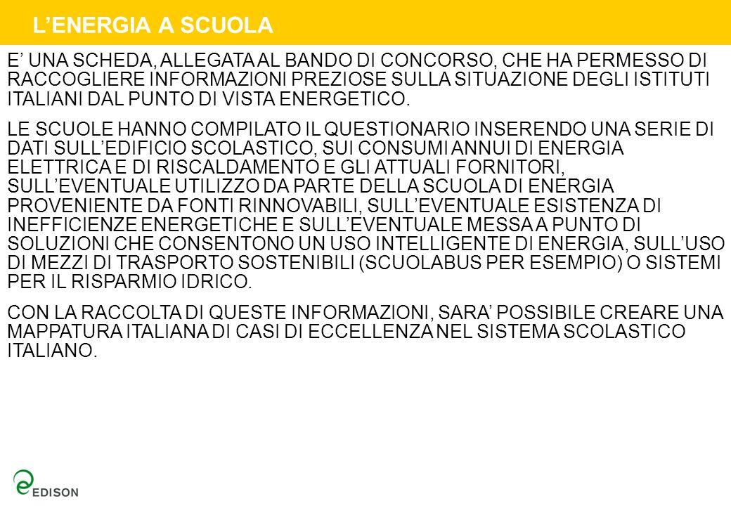 LENERGIA A SCUOLA E UNA SCHEDA, ALLEGATA AL BANDO DI CONCORSO, CHE HA PERMESSO DI RACCOGLIERE INFORMAZIONI PREZIOSE SULLA SITUAZIONE DEGLI ISTITUTI ITALIANI DAL PUNTO DI VISTA ENERGETICO.