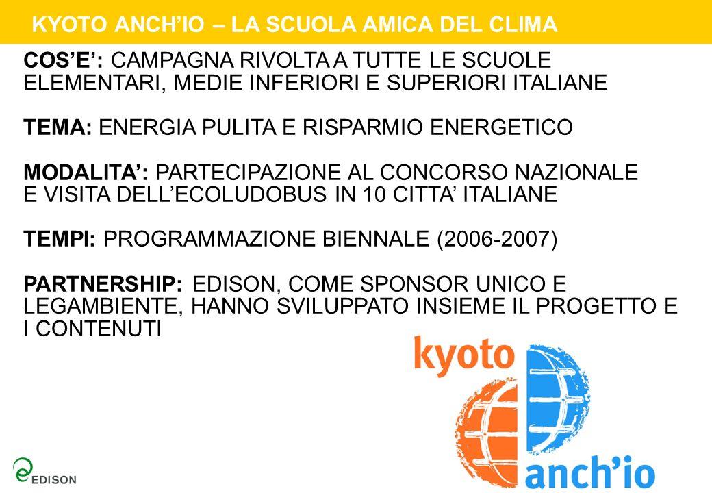 KYOTO ANCHIO – LA SCUOLA AMICA DEL CLIMA COSE: CAMPAGNA RIVOLTA A TUTTE LE SCUOLE ELEMENTARI, MEDIE INFERIORI E SUPERIORI ITALIANE TEMA: ENERGIA PULIT
