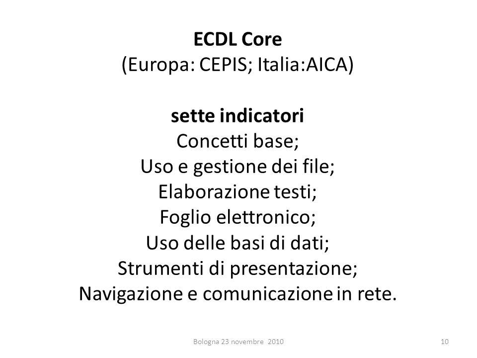 ECDL Core (Europa: CEPIS; Italia:AICA) sette indicatori Concetti base; Uso e gestione dei file; Elaborazione testi; Foglio elettronico; Uso delle basi