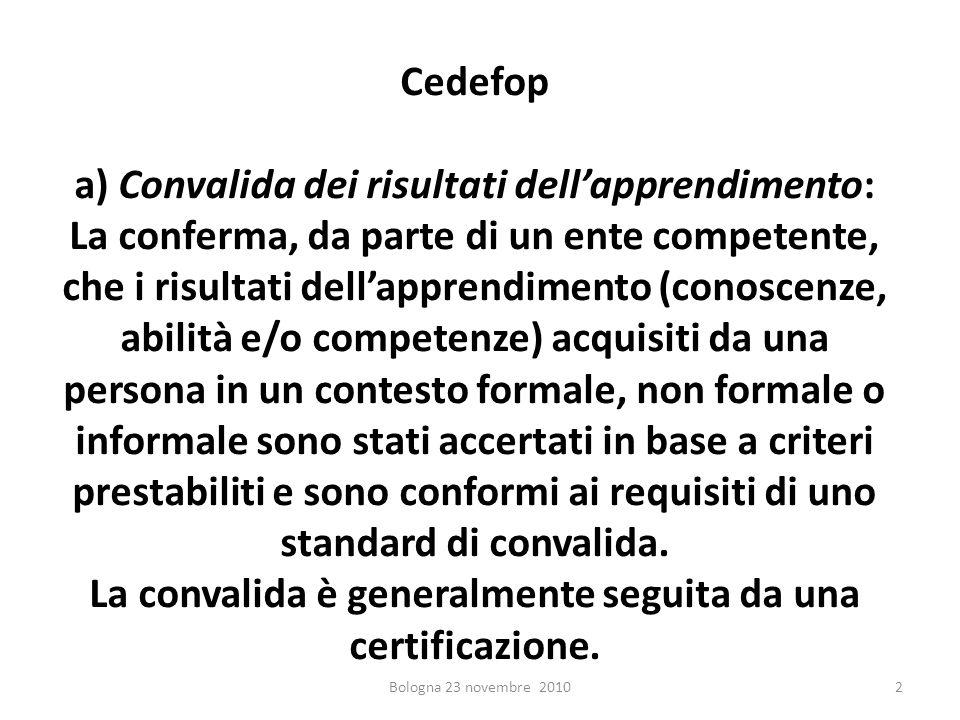 Cedefop a) Convalida dei risultati dellapprendimento: La conferma, da parte di un ente competente, che i risultati dellapprendimento (conoscenze, abil