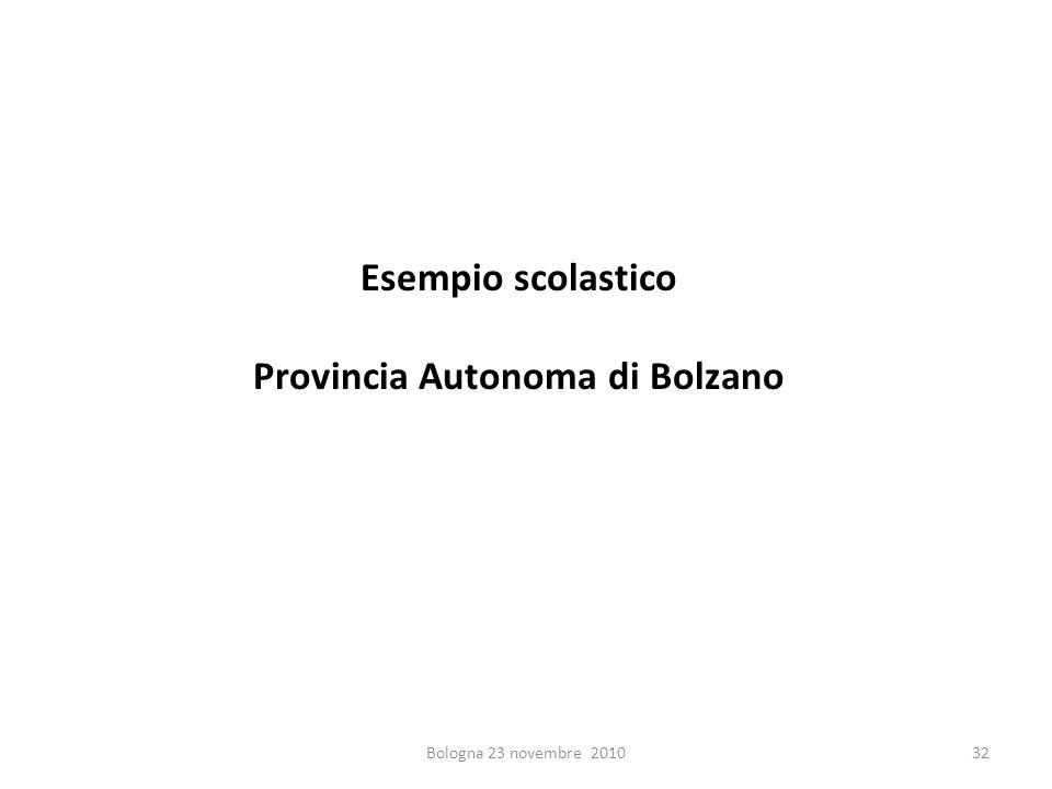 Esempio scolastico Provincia Autonoma di Bolzano Bologna 23 novembre 201032