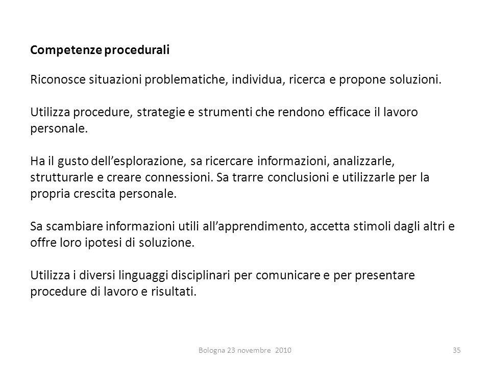 Competenze procedurali Riconosce situazioni problematiche, individua, ricerca e propone soluzioni. Utilizza procedure, strategie e strumenti che rendo