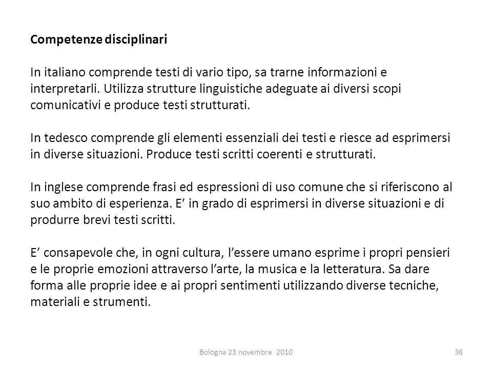 Competenze disciplinari In italiano comprende testi di vario tipo, sa trarne informazioni e interpretarli. Utilizza strutture linguistiche adeguate ai