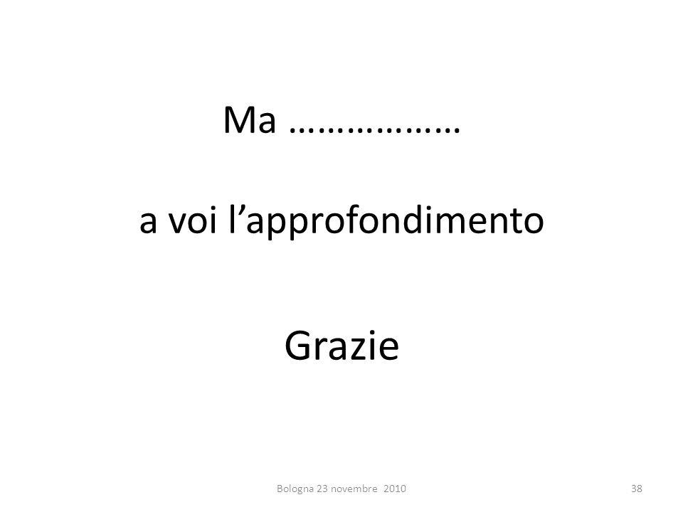 Ma ……………… a voi lapprofondimento Grazie Bologna 23 novembre 201038
