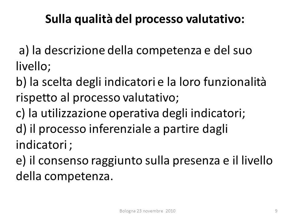 Sulla qualità del processo valutativo: a) la descrizione della competenza e del suo livello; b) la scelta degli indicatori e la loro funzionalità risp