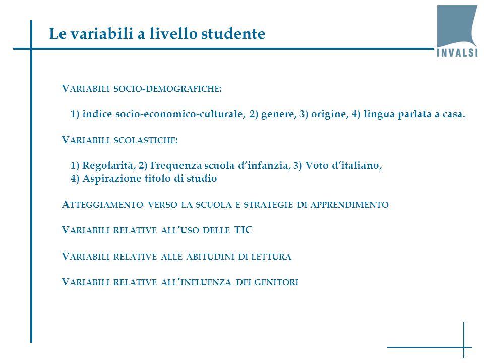 Le variabili a livello studente V ARIABILI SOCIO - DEMOGRAFICHE : 1) indice socio-economico-culturale, 2) genere, 3) origine, 4) lingua parlata a casa.