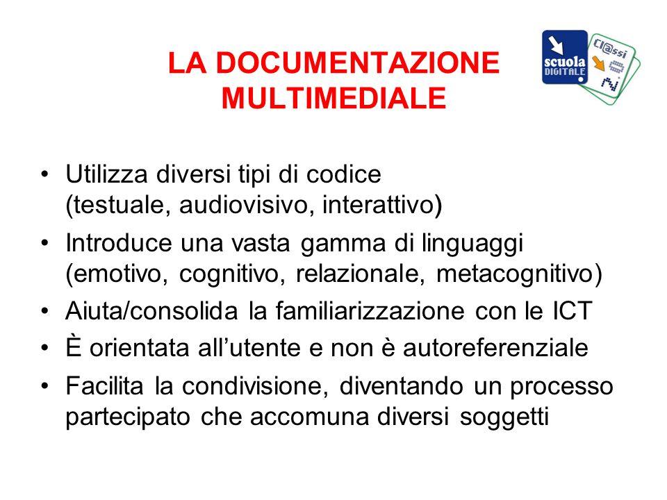 LA DOCUMENTAZIONE MULTIMEDIALE Utilizza diversi tipi di codice (testuale, audiovisivo, interattivo) Introduce una vasta gamma di linguaggi (emotivo, c