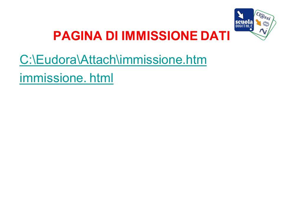 PAGINA DI IMMISSIONE DATI C:\Eudora\Attach\immissione.htm immissione. html