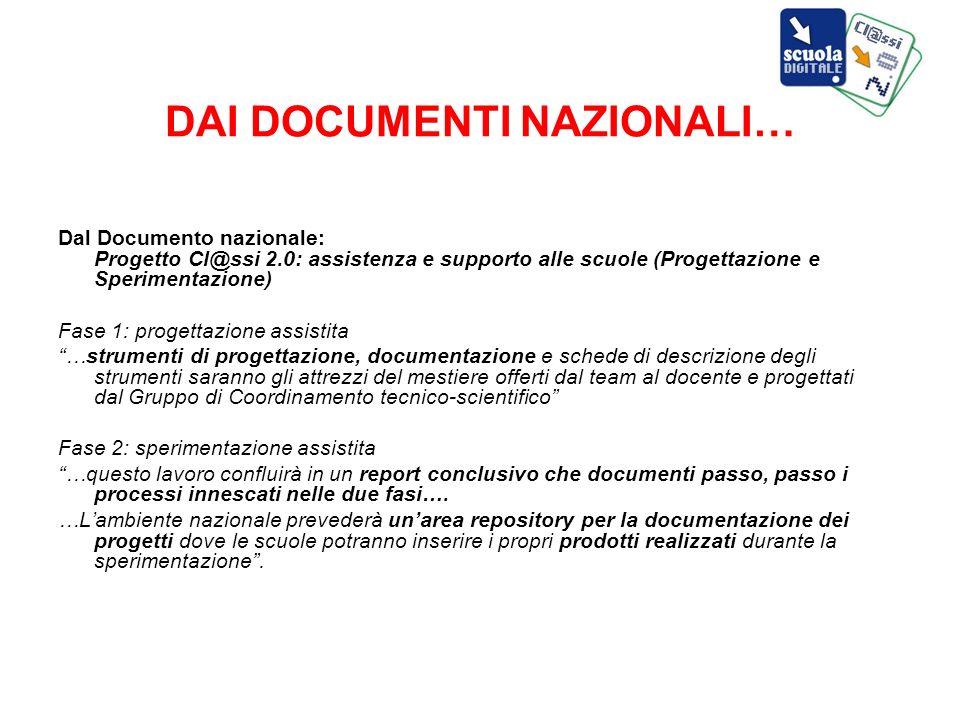 DAI DOCUMENTI NAZIONALI… Dal Documento nazionale: Progetto Cl@ssi 2.0: assistenza e supporto alle scuole (Progettazione e Sperimentazione) Fase 1: pro